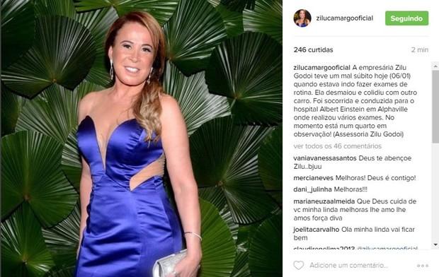 Comunicado sobre o acidente de Zilu Camargo  (Foto: Reprodução/Instagram)
