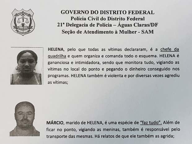 Documento da Polícia Civil do DF descreve suspeitos de comandar esquema de tráfico de mulheres para fins sexuais (Foto: Raquel Morais/G1)