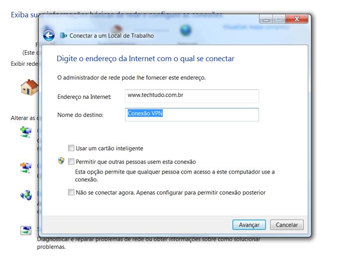Preencha as informações referentes ao servidor de rede que você pretende acessar (Foto: Reprodução/Filipe Garrett)