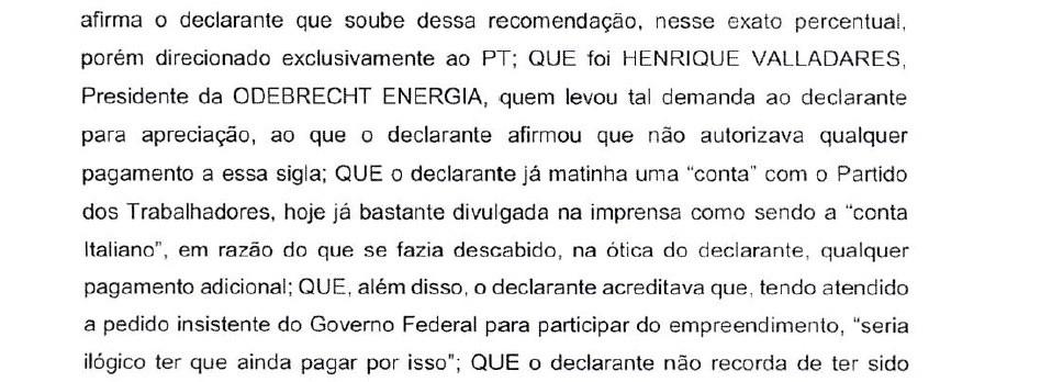 Trecho de depoimento de Marcelo Odebrecht à PF sobre Belo Monte (Foto: Reprodução)