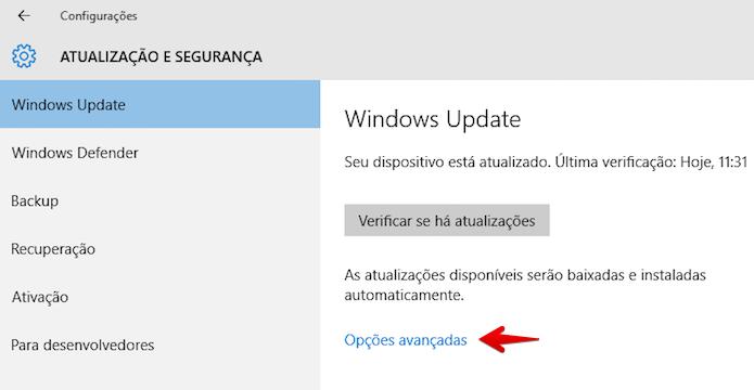Abra as opções avançadas do Windows Update (Foto: Reprodução/Helito Bijora)