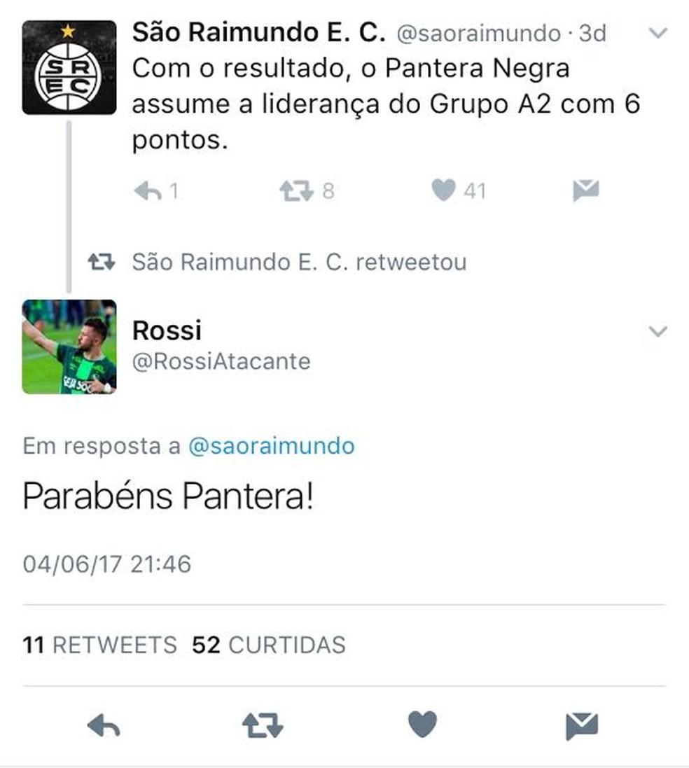 Rossi parabenizou o São Raimundo pelo Twitter (Foto: Reprodução/Twitter)
