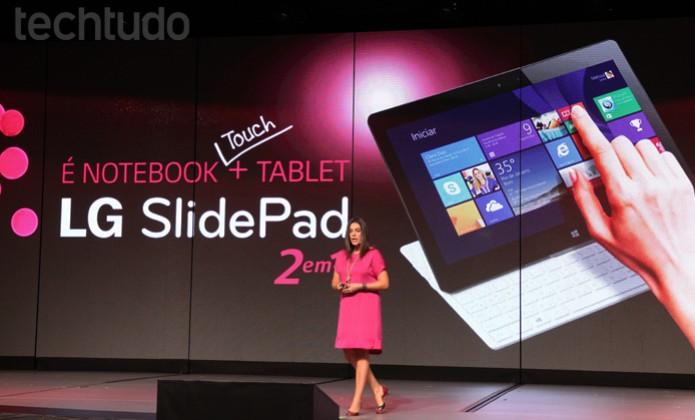 Gerente Geral de Marketing, Fernanda Summa apresenta o SlidePad II no LG Digital Experiência (Foto: Pedro Cardoso/TechTudo)