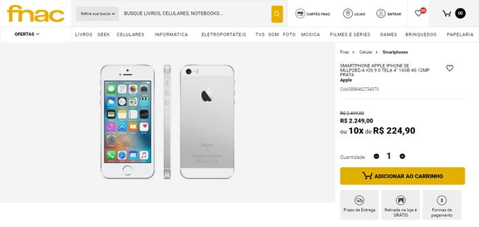 Telefone da Apple ficou mais caro durante a Black Friday (Foto: Reprodução/Fnac)