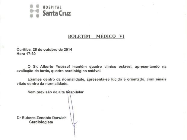 Boletim médico é assinado por médico cardiologista (Foto: Reprodução)