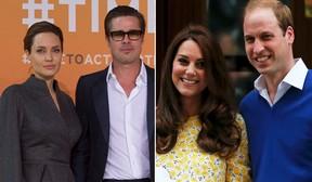 Angelina Jolie e Brad Pitt - Príncipe William e Kate Middleton (Foto: AFP - Reuters)