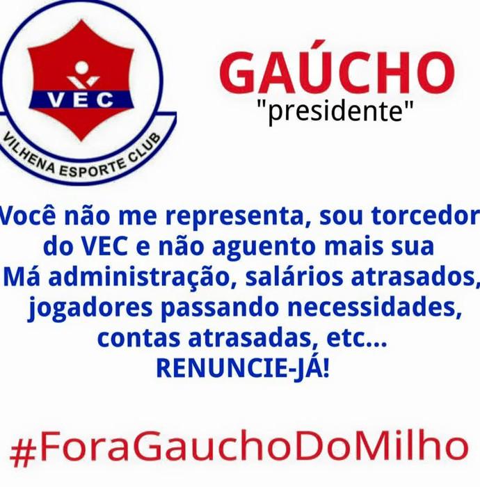 Campanha pedindo renúncia de Carlos Dalanhol da presidência está sendo promovida por torcedores nas redes sociais  (Foto: Divulgação/Torcida)
