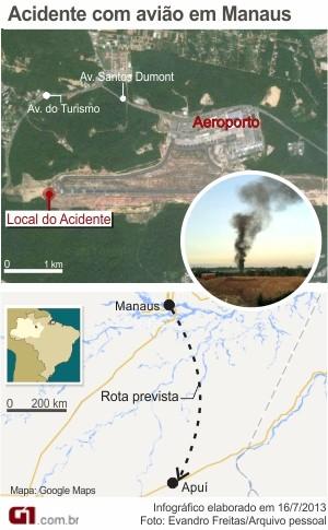 Arte do acidente de avião no Aeroporto Eduardo Gomes, em Manaus (Foto: Arte/G1 AM)