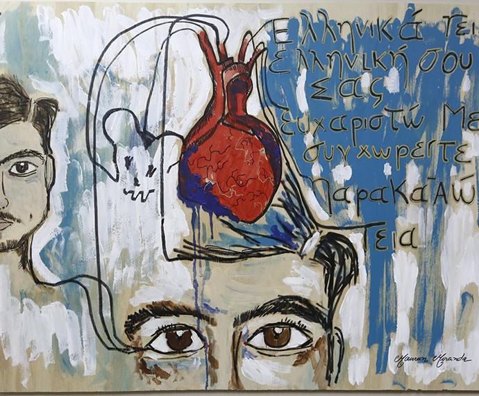 Quadro de Grego foi o primeiro que a artista plástica fez e, em entrevista, revela coincidência (Foto: Inácio Moraes/Gshow)