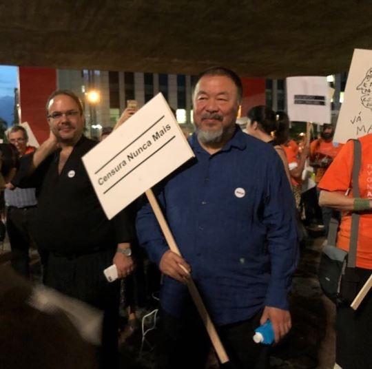 Ai Weiwei duranet protesto contra a censura no Museu de Arte de São Paulo (Masp) (Foto: Reprodução Instagram)