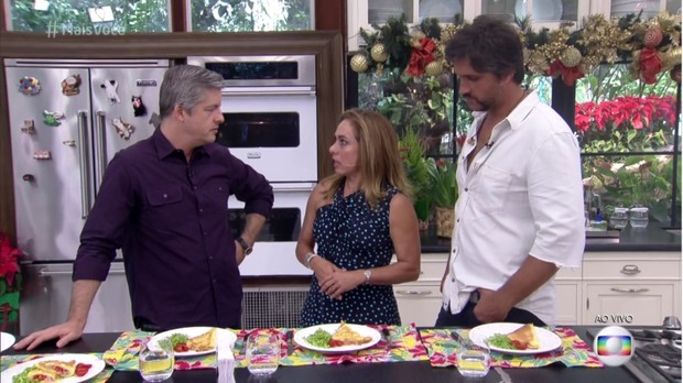 Victor, Cissa Guimarães e Léo (Foto: Reprodução/ TV Globo)