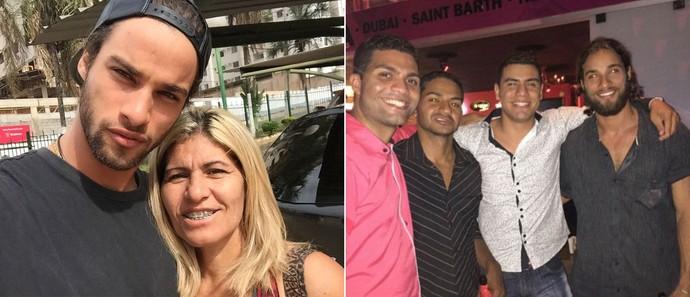 Família Morais: Pablo com a mãe, Sirdene, e com os irmãos Marcos, Elvys e Daniel (Foto: Arquivo pessoal)
