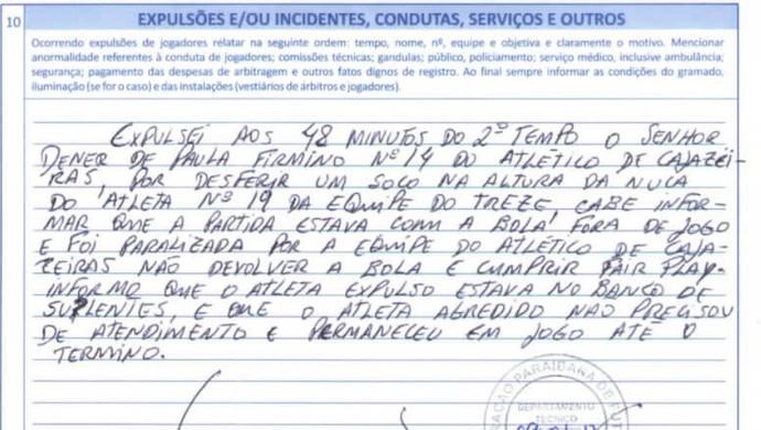 súmula, treze, atlético de cajazeiras (Foto: Reprodução / FPF)