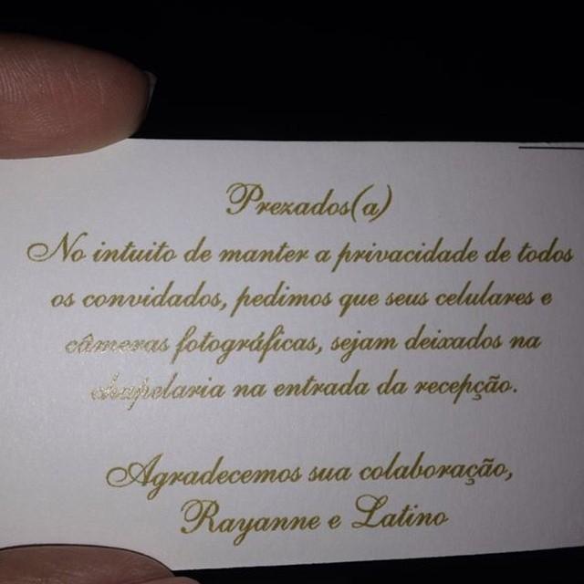 Convite avisa que não é permitido fotografar a cerimônia (Foto: Reprodução/Instagram)