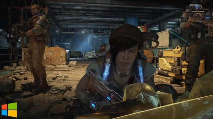 Porém nota-se que outros personagens de Gears of War 4 na cena têm muito mais detalhes (Foto: Reprodução/Hardcore Gamer)