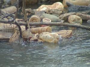 Garrafas pets dominam o cenário do rio Preto (Foto: Reprodução / TV TEM)