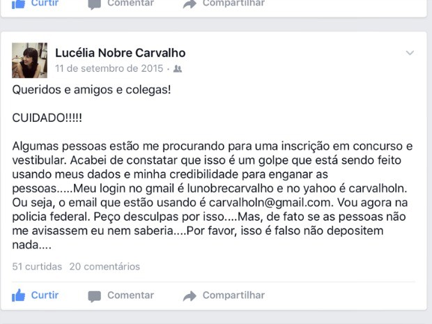 Professora postou mensagem em rede social alertando sobre o golpe (Foto: Reprodução/ Facebook)