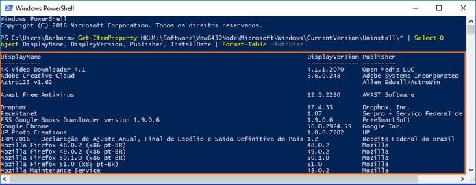 Confira a listagem de programas instalados no PC (Foto: Reprodução/Barbara Mannara)