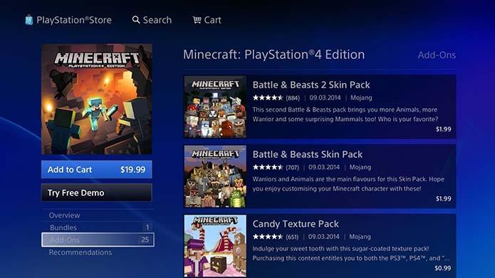 Aprenda a baixar e instalar skins pra Minecraft no Xbox One e PS4 (Foto: Reprodução/Murilo Molina)