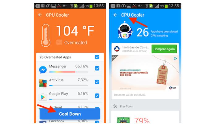 Evitando que aplicativos sobrecarreguem o processador de um smartphone Android com o Super Booster Clean Boost (Foto: Reprodução/Marvin Costa)