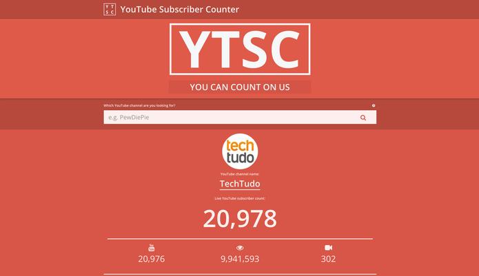 Site YTSC mostra contador de inscritos no canal do YouTube em tempo real (Foto: Reprodução/Barbara Mannara)