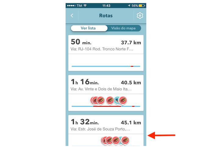 Alternando para uma rota alternativa no Waze para iPhone (Foto: Reprodução/Marvin Costa)