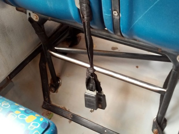 Também foi verificado a falta de cinto de segurança no transporte escolar na região de Prudente (Foto: TCE/Divulgação)
