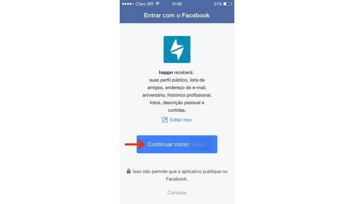 Permissão para acessar conta do Facebook no app para iOS (Foto: Reprodução/Raquel Freire)