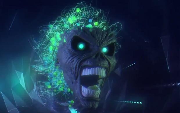 Eddie, mascote do Iron Maiden, vira videogame em clipe de 'Speed of light' (Foto: Reprodução/YouTube/Iron Maiden)