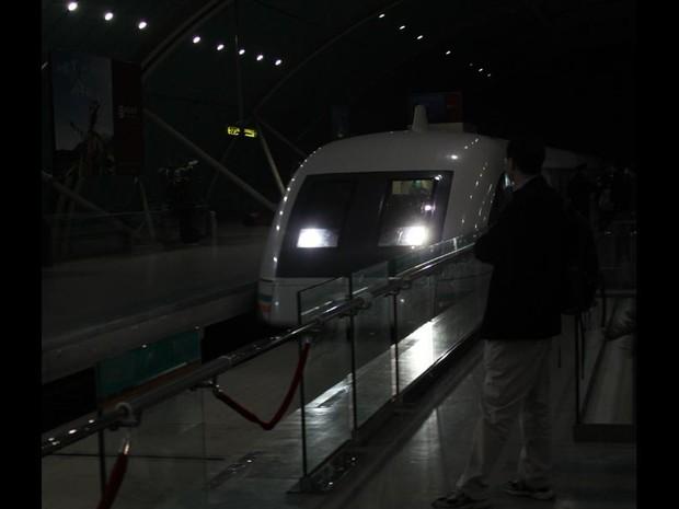 Maglev, está em operação desde 2004 em Shanghai (Foto: Leopoldo Godoy/G1)