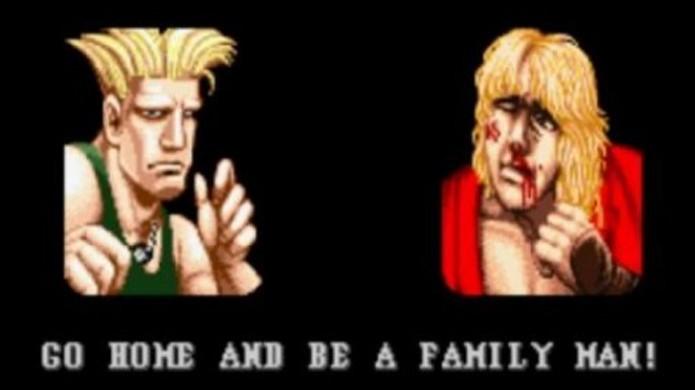 Ken ouve a frase de vitória Vá para casa e seja um homem de família de Guile em Street Fighter 2 (Foto: Reprodução/Pixel Bedlam)