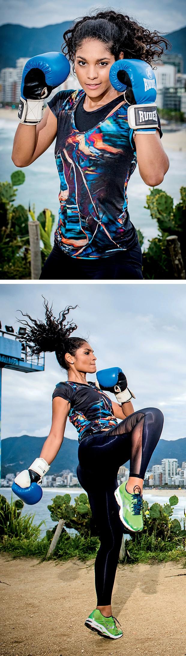 Barbara Reis, no Arpoador: golpes,  como a joelhada, fortalecem os  músculos do core (estabilizadores do  tronco), membros inferiores e glúteos  (Foto:  )