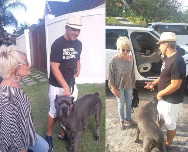 Ana Maria chega na casa de André Marques e fica com medo dos cachorros (Foto: Ivo Madoglio/TV Globo)