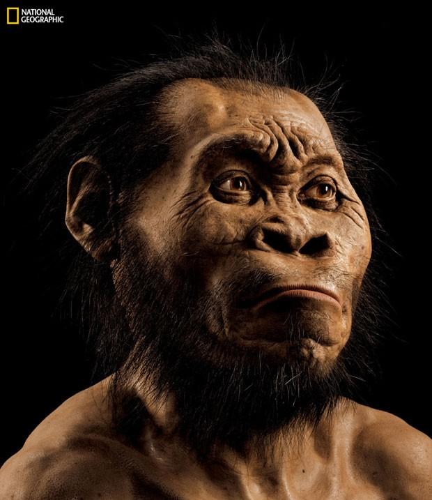 Reconstrução mostra como seria o rosto do 'Homo Naledi', como foi batizada a nova espécie identificada a partir de ossos encontrados na África do Sul (Foto: Mark Thiessen/National Geographic via AP)