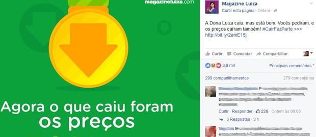 Campanha do Magazine Luiza nas redes sociais. (Foto: Reprodução/MagazineLuiza)