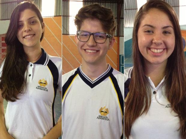 Allyca, Gabriel e Louise vão realizar a prova do Enem (Foto: Cassiane Seghatti/G1)