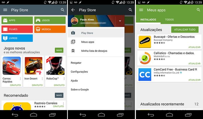 Google Play Store ganha Material Design e novo ícone no Android (Foto: Reprodução/Paulo Alves)