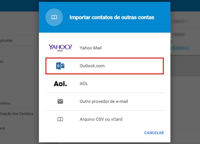 Importe contatos do Outlook (Foto: Reprodução/Paulo Alves)