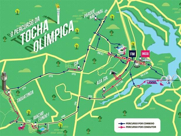 Trajeto da Tocha Olímpica por Brasília; evento vai causar alterações no trânsito em cinco regiões (Foto: Agência Brasília/Divulgação)