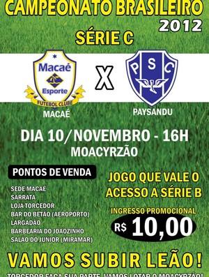 Folder chama jogo Macaé x Paysandu (Foto: Divulgação)