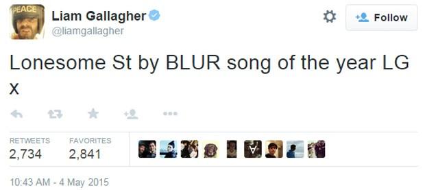 Liam Gallagher afirmou que single do Blur é 'canção do ano' em sua conta no Twitter (Foto: Reprodução/Twitter)
