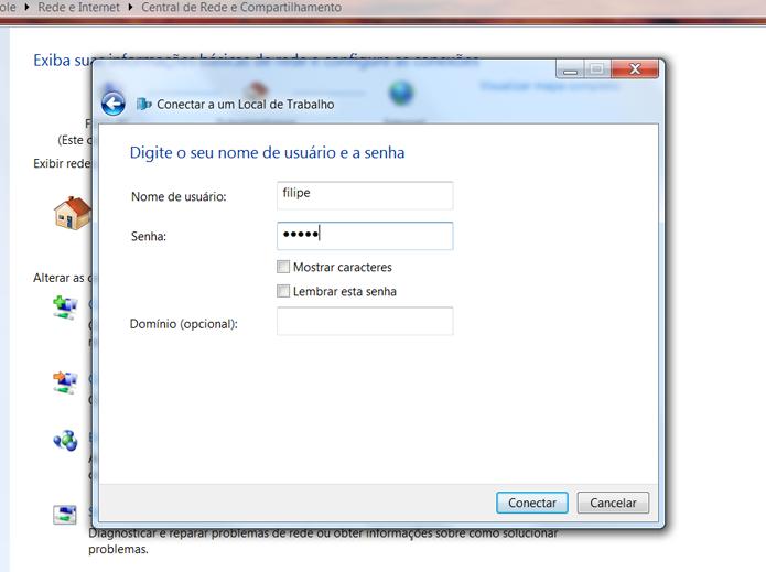 Inclua as informações de login para acessar a VPN (Foto: Reprodução/Filipe Garrett)