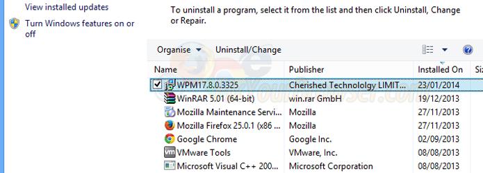 Selecione e remova o WPM17 de sua máquina