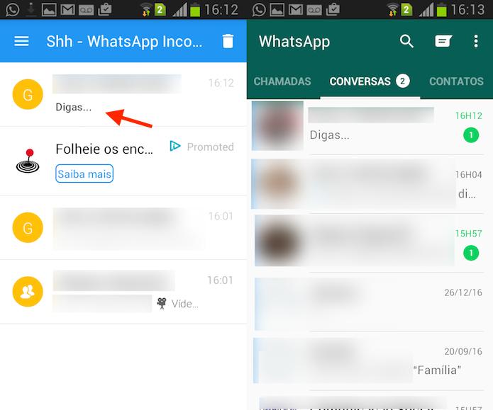 Ação que permite ler uma mensagem do WhatsApp no Shh de forma anônima (Foto: Reprodução/Marvin Costa)