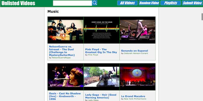 Site traz apenas videos não listados no YouTube (Foto: Reprodução/Helito Bijora)