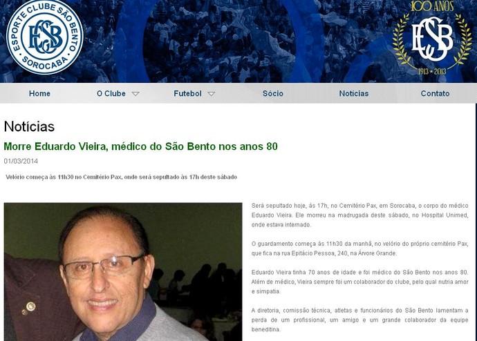 Eduardo Álvaro Vieira, médico São Bento, artroscopia (Foto: Reprodução / Site EC São Bento)