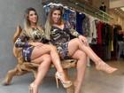 Ana Paula Minerato e Tati Minerato abusam de decote em dia de compras