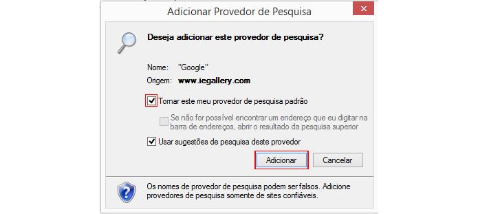 Caixa permite configurar mecanismo de pesquisa padrão (foto: Reprodução/Internet Explorer)