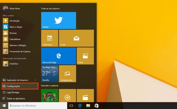 Abra as configurações do Windows 10 (Foto: Reprodução/Paulo Alves)