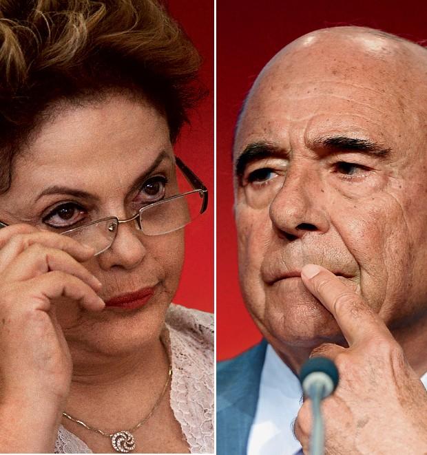 RESOLVIDO Dilma e Botín, presidente do Santander. Ela reclamou de uma crítica, ele disse que o responsável foi demitido (Foto: Ueslei Marcelino/Reuters e Juan Manuel Serrano Arce/Getty Images)